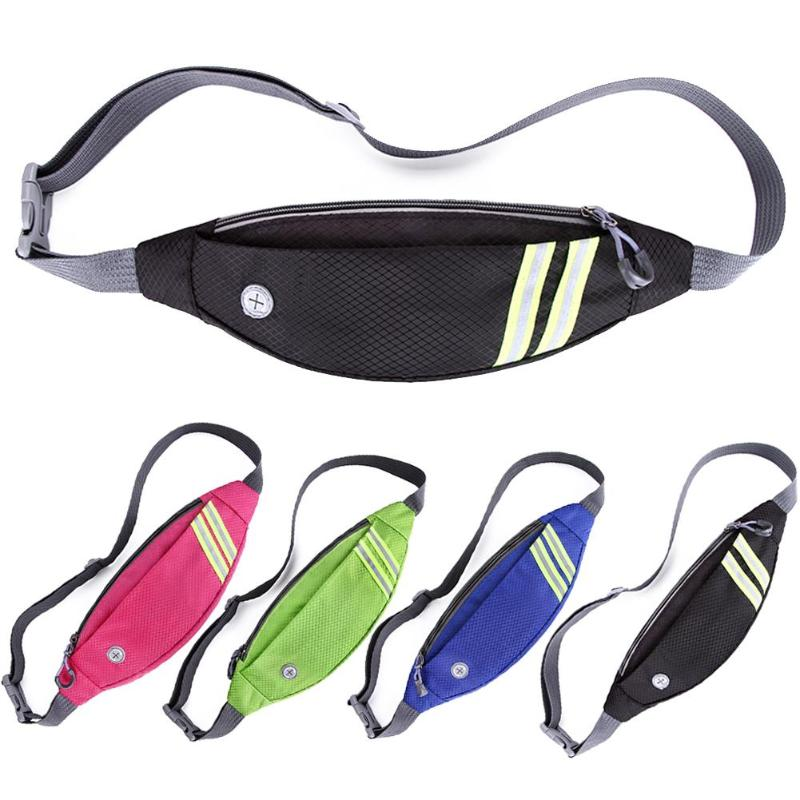 Sports Running Waist Bag Belt Pack Reflective Strip Mobile Phone Holder