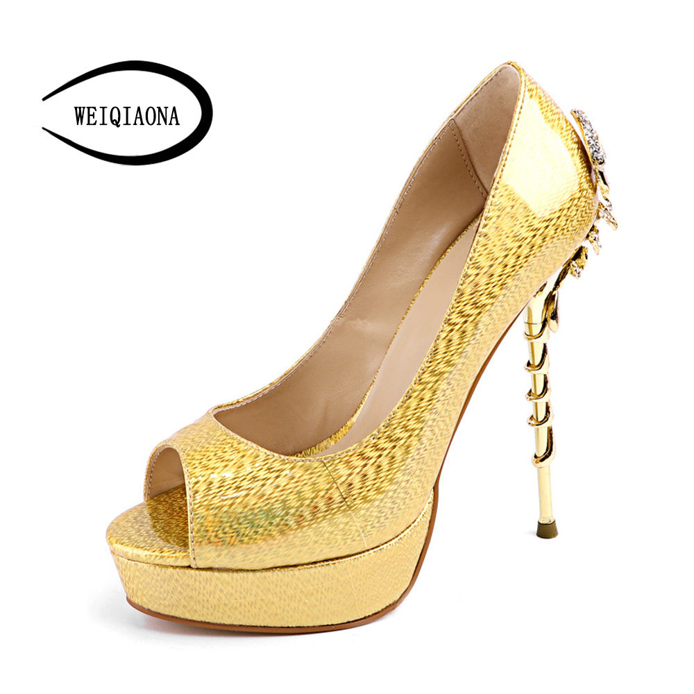 WEIQIAONA 2018 plus 36-42 New Luxury for brand design Elegant glod Women Shoes Sexy peep Toe Super High Heel Party Sandals