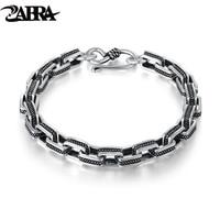 ZABRA Vintage Man Bracelet Retro Black Color Square 16 22cm Steampunk Biker Silver Bracelets Women 925 Sterling Silver Jewelry