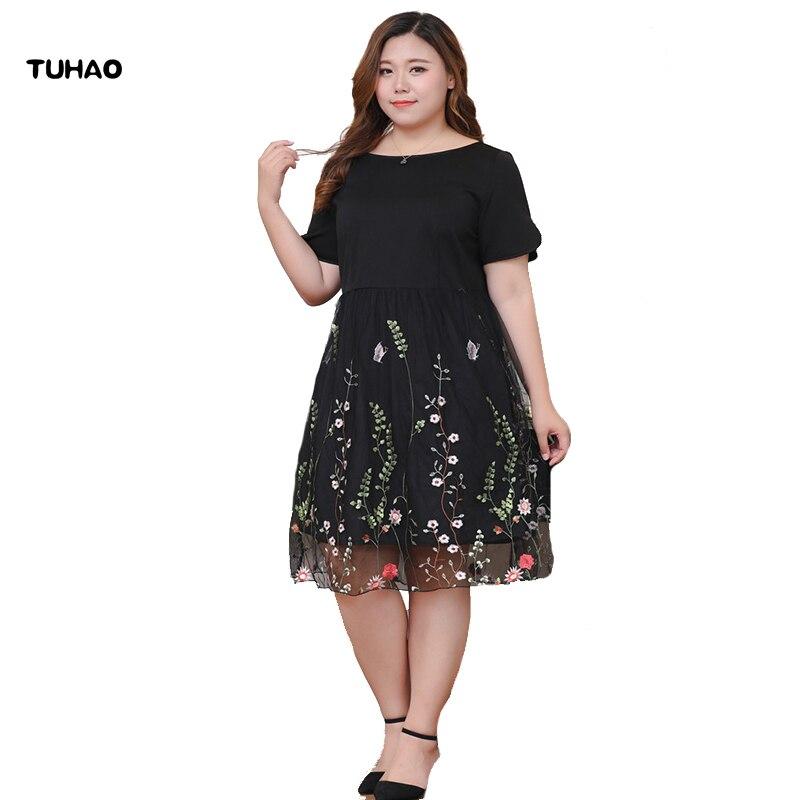 TUHAO 2018 D'été Office Lady Femmes courtes manches Noir robe avec broderies tenue décontractée grande taille 6XL 8XL 10XL robe vintage MS77