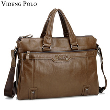 VIDENG POLO hot sale leather briefcase business 14″ handbags tote Sacoche Homme crossbody bags for men top-handle work bag