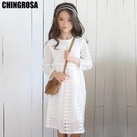 44cbb4e974 CHINGROSA Geometric Pattern Long Sleeve Lace Girls Dresses Princess Beach  Summer Autumn Dress Kids Clothing vestidos