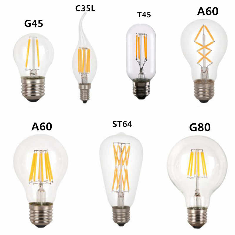 LED T45 ST64 G80  C35 Light LED Filament Bulb,2W 4W 6W 8W 18W E27 B22 Dimmable 110V 22V Retro Vintage Lamps,Decorative Lighting
