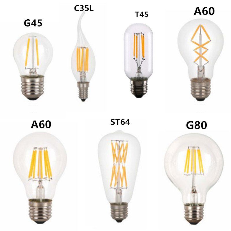 LED T45 ST64 G80 A60 C35 Light LED Filament Bulb,2W 4W 6W 8W E27 B22 Dimmable 110V 22V Retro Vintage Lamps,Decorative Lighting