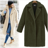 2018 Winter Coat Women Turn down Collar Long Sleeve Covered Button Loose Long Lamb Coats Outerwear casaco feminino
