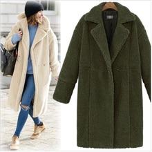 2018 Winter Coat Women Turn-down Collar Long Sleeve Covered Button Loose Long Lamb Coats Outerwear casaco feminino