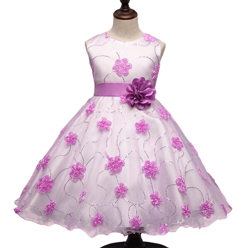 Baby Girls Dress Birthday Wedding Party Ball Gown Princess Dresses 2017 New Flower Sleeveless Tutu Dress Pink Purple 3-9Y GD49 wcb 100 cast iron portable electric gear thermal heavy oil pump