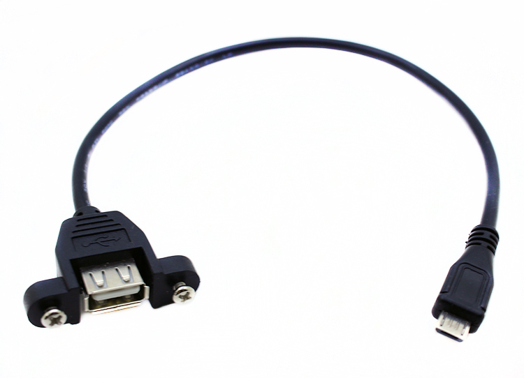 0.3M 5P Micro B Male to USB A Female Adapter Converter Screw Lock Panel Mount Data Sync Power Charge Cable Cord