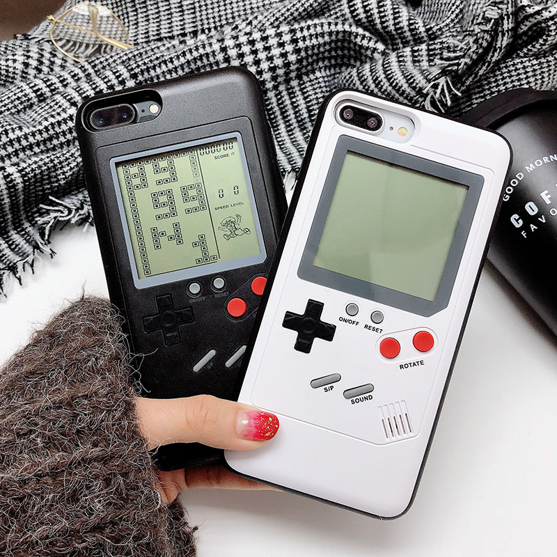 Retro GB Gameboy Tetris Phone Cases for iPhone 6 6S 7 8 Plus Soft TPU Can Play Blokus Game Console Cover For Iphone X 8 7 Plus 6