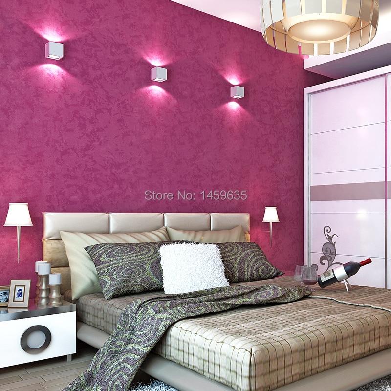 Pure red rose wallpaper bedroom den dark blue plain embossed ...
