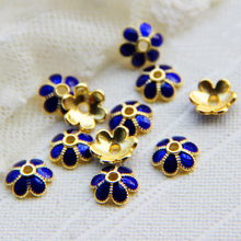 Aladdin flowers Bead Caps Jewelry Findings Metal Alloy enamel cloisonne Diy Golden accessories for Women bracelet necklace gift