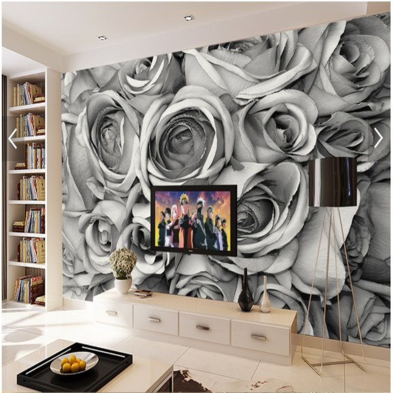 Large custom mural wallpaper retro black and white roses for Black and white rose wall mural