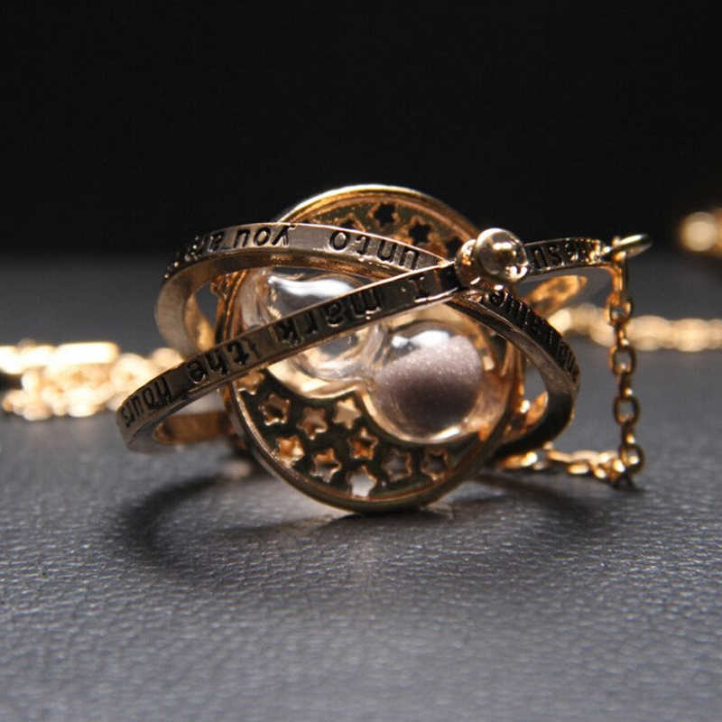 Czas klepsydra astronomiczny list złoty naszyjnik dla kobiet mężczyzn kreatywny kompleks obrotowy kosmiczny naszyjnik biżuteria