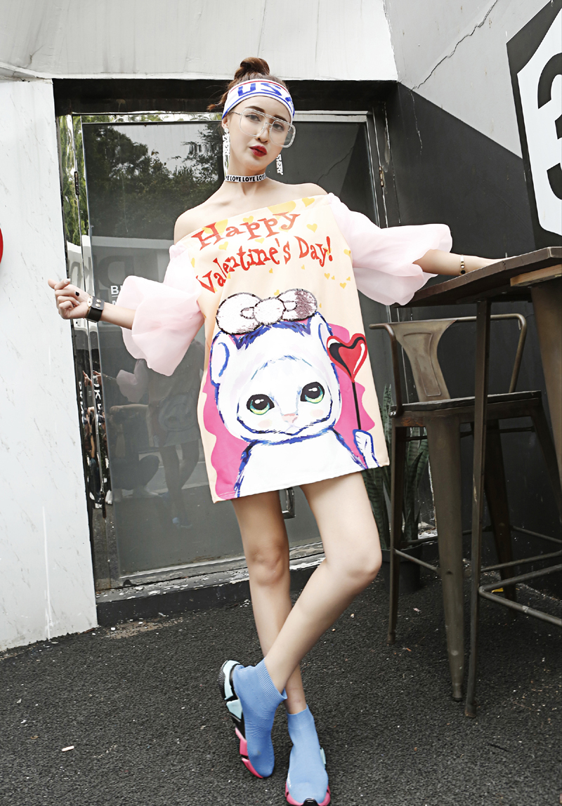 Streetwear women Cute cartoon sequins pattern long blouse puff sleeve summer Slash Neck sexy loose designer party blouses NS362