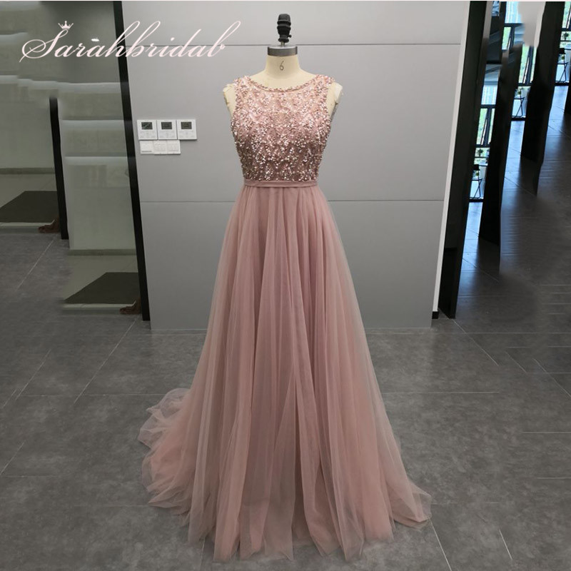Elegant Bling Bling   Evening     Dresses   Long Beaded Sequined O-neck Tulle Backless Zipper With Train Prom Party Gown CC5465
