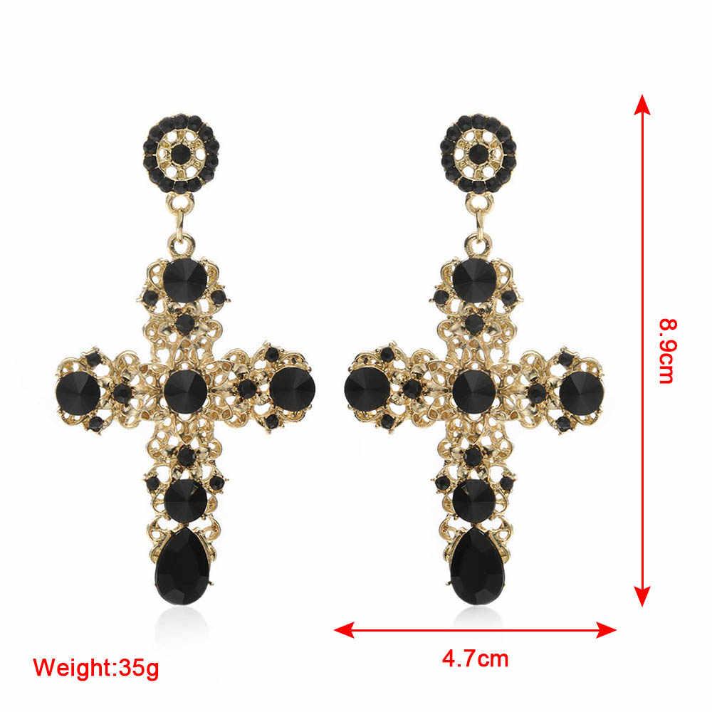 Vintage Boho Crystal Cross Drop Earrings for Women Baroque Bohemian Large Long Earrings Jewelry Brincos 2018 Gifts For New Year