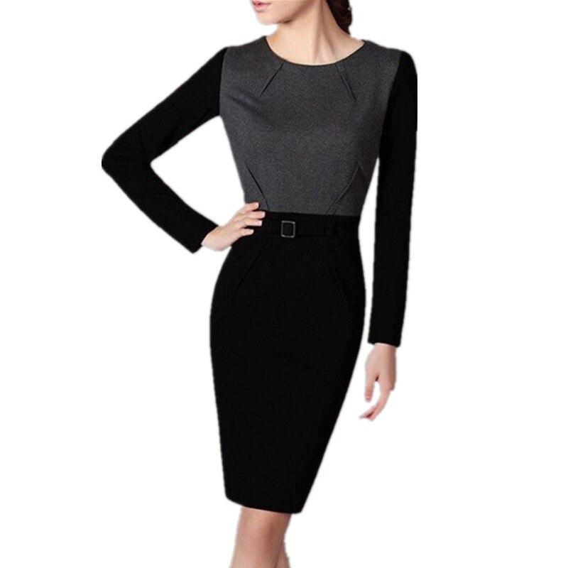 36c5552660c Nueva llegada de otoño estilo mujeres vestido de alta calidad damas  elegante Vestidos manga larga más terciopelo lápiz vestido vestidos dr436