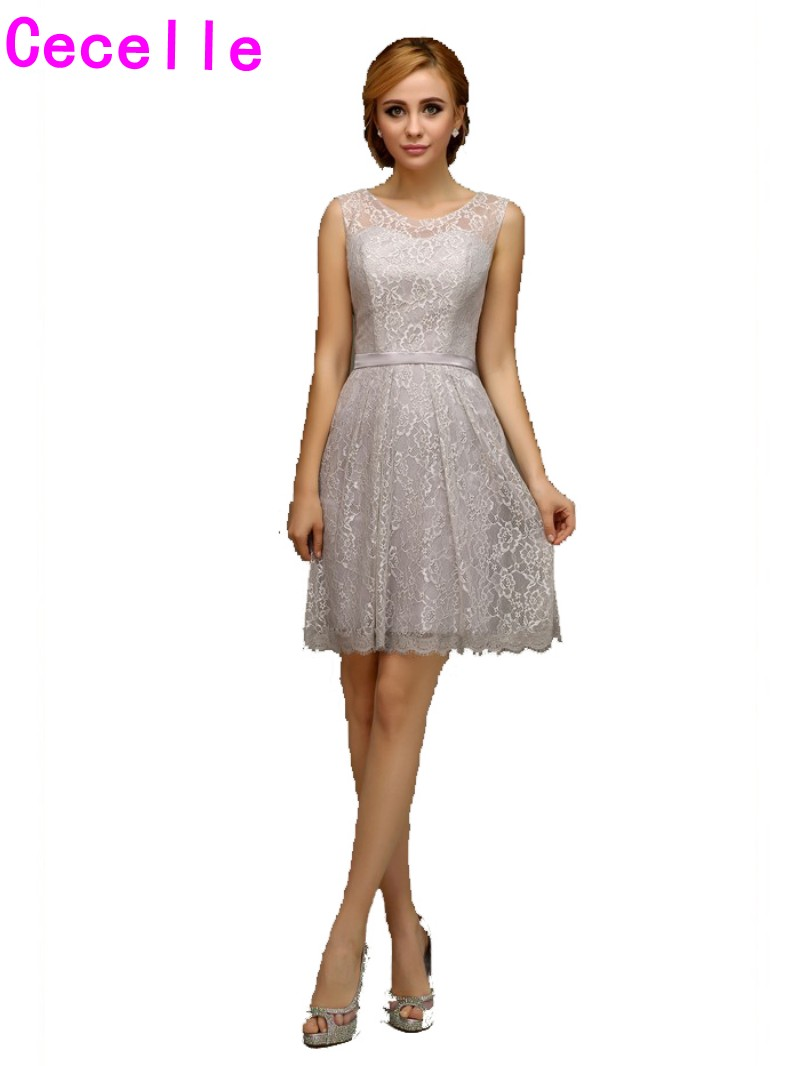 2017 real short silver lace bridesmaid dresses sleeveless informal 2017 real short silver lace bridesmaid dresses sleeveless informal knee length country bridesmaid robes custom made casual new in bridesmaid dresses from ombrellifo Gallery