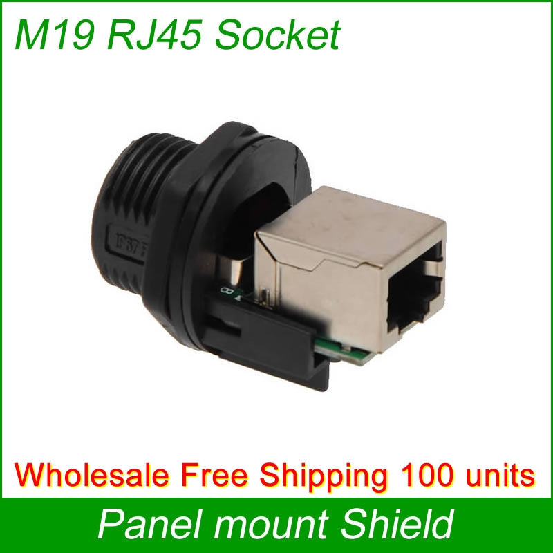 Free Shipping Wholesale 100 units RJ45 Panel Mount waterproof Connector joint Outdoor AP socket Gigabit Straight head with cap