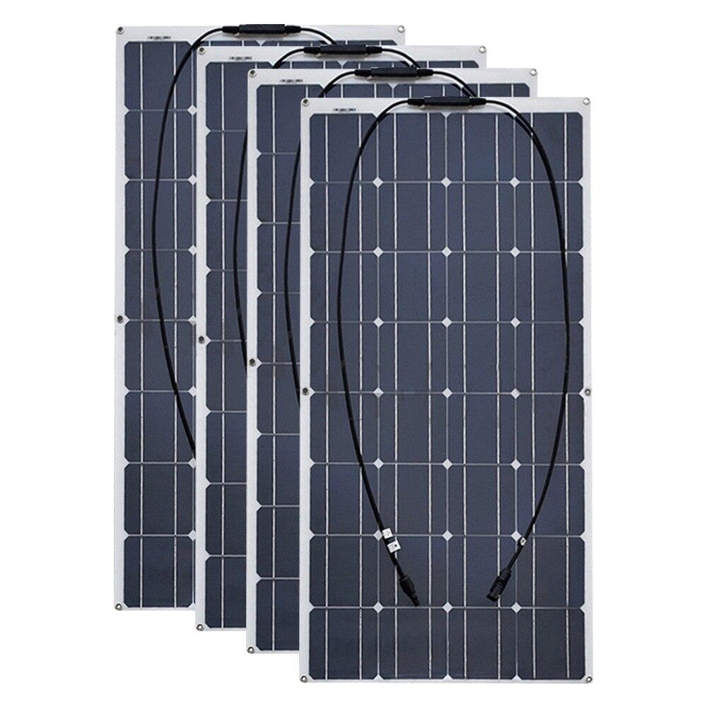 4 pièces 6 pièces 8 pièces 10 pièces Flexible panneau solaire 100 W Monocristallin Cellule 12 V 24 Volt 100 Watt placa portatil powerbank 400 w 600 w 800 w