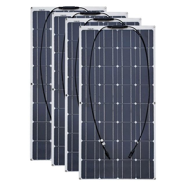 4PCS 6pcs 8pcs 10pcs Flexible solar Panel 100W Monocrystalline Cell 12V 24 Volt 100 Watt placa portatil powerbank 400w 600w 800w
