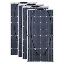 Painel solar flexível 4 peças, 6 peças, 8 peças, 10 peças, 100 w pro cell 12v 24 volt 100 carregador portátil de w placa 400w 600w 800w