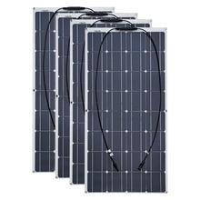Panel solar Flexible monocristalino de 100 W, 12V, 24 voltios, 100 vatios, 4 Uds., 6 uds., 8 Uds., 10 Uds.