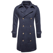 цена на Trench coat men's autumn and winter new classic double-breasted long section Slim high-quality wool warm solid color blends coat
