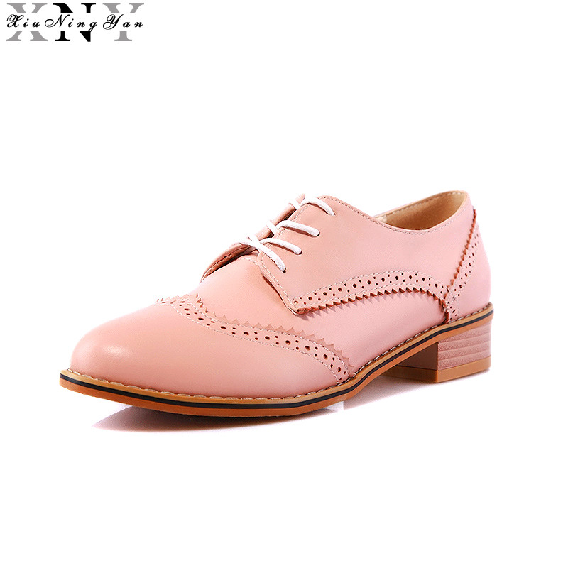 XIUNINGYAN Women Oxfords Flats Shoes Lace Up Round Toe Fashion Causal Brogue Shoes Women Large Size 32-43 Women's Flat Shoes xiuningyan women leather brogue shoes spring autumn brand pointed toe women s flats fashion ladies elegant loafers soft oxfords