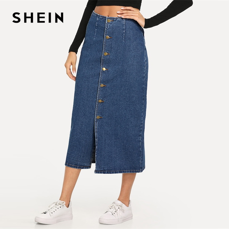 SHEIN Slit Front Button Up Denim Shift Skirt Casual Mid Waist Women Morden Lady Street Wear Skirts 2019 Summer Slim Skirt 1
