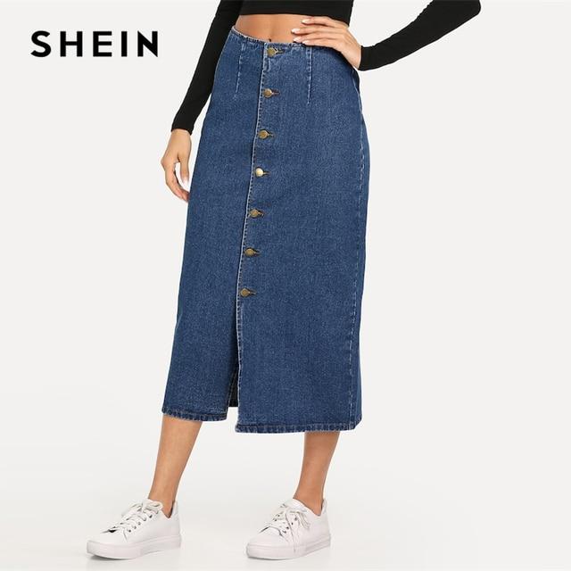 SHEIN fente avant bouton Up Denim jupe droite décontracté taille moyenne femmes Morden Lady Street porter jupes 2019 été Slim jupe