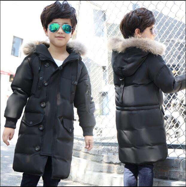 Белая утка вниз 2017 новых детей пуховик и длинные участки мальчик большой девочек толстые зимнее пальто куртка