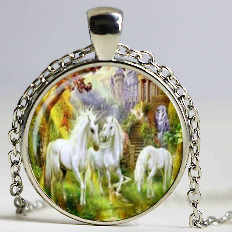 Unicorn Pendant Necklace horse Pendant Jewelry Glass Dome Pendant Necklace