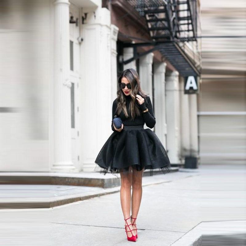 Fashion Black Mini Tulle Skirts Women Puffy A-line Tutu Skirt Girls Female Bottoms Custom Made Faldas Saias New Short Skirt