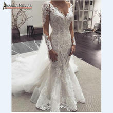AMANDA NOVIAS Long sleeves lace mermaid wedding dresses