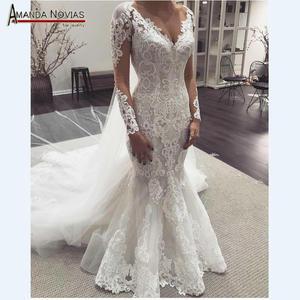 Image 1 - Long sleeves lace mermaid wedding dresses 2019