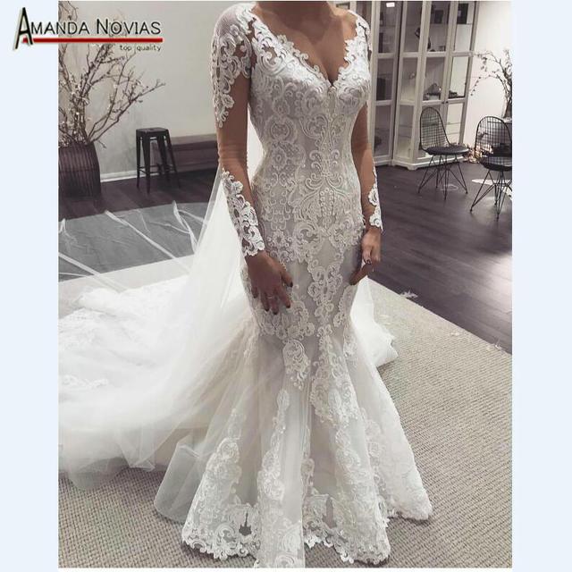 Long sleeves lace mermaid wedding dresses 2019