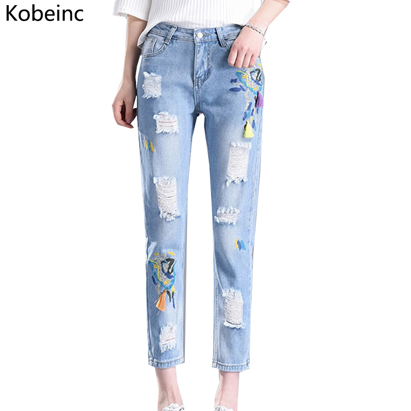 Kobeinc Embroidery Ripped Jeans for Women Ankle Length Denim Pants Female Pencil Trousers New Fashion Vaqueros Summer Jeans 2017 2017 fashion women jeans retro style floral embroidery ripped hole denim pencil pants vintage mid waist ankle length trousers
