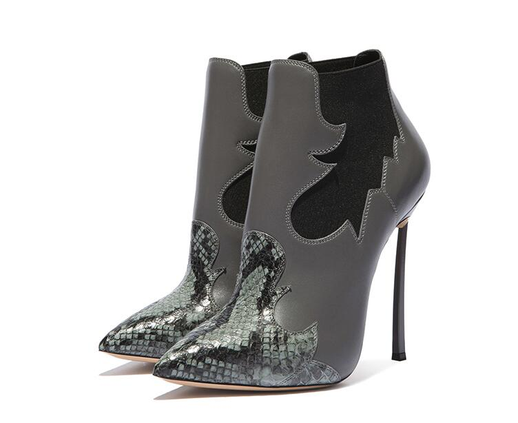 Aliexpress.com   Buy Hot Python Leather Patchwork Women Pointy Toe Ankle  Boots Sexy Metal Heel Ladies Stiletto Boots Slip On Dress Shoe Size 42 from  ... 3b426502b815