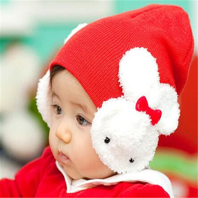 Practical Warm Hat Double Rabbit Children Cold-Proof Earmuff Protection  To Keep Children Warm In Winter  Pretty Cap CC2606