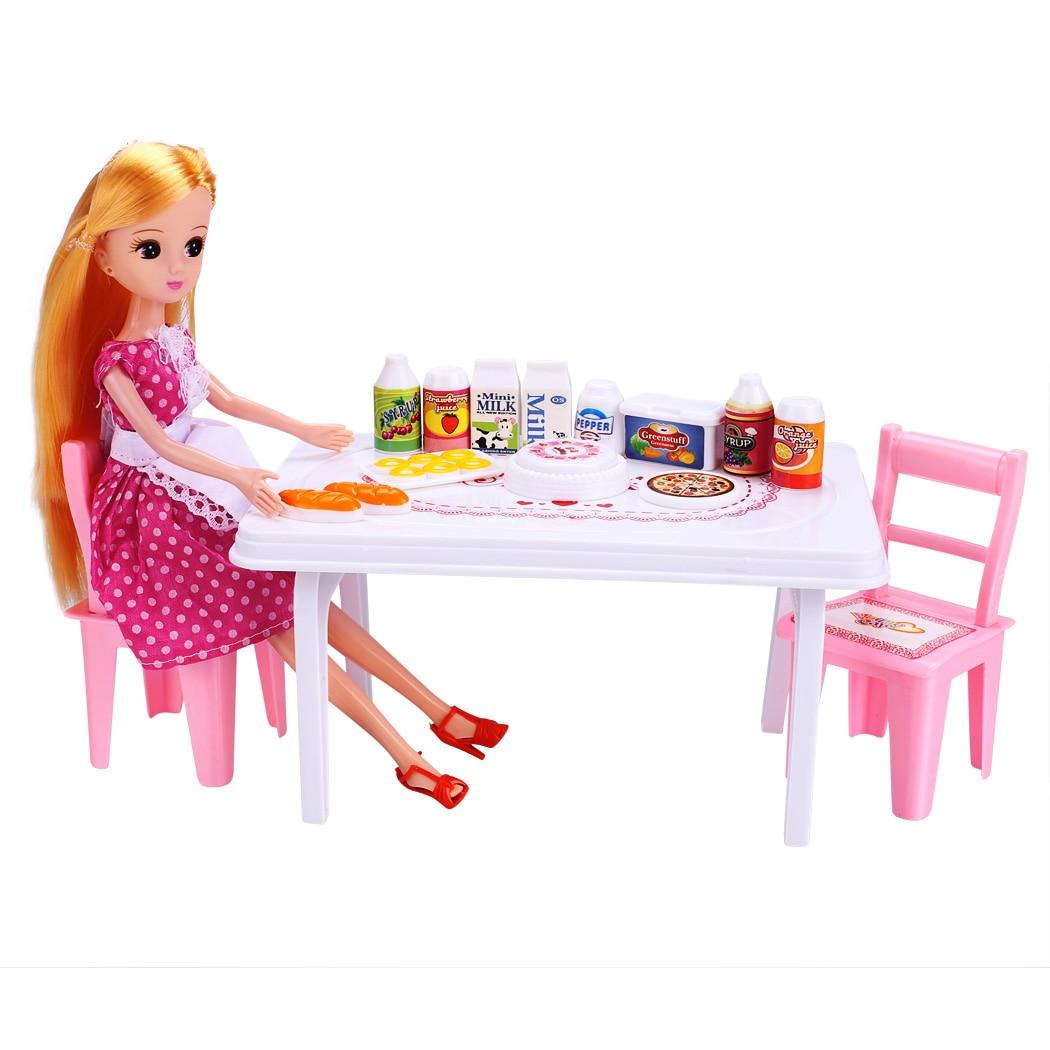 ღ ღBebé muñeca niños Juguetes partido cena silla mesa con bebidas ...