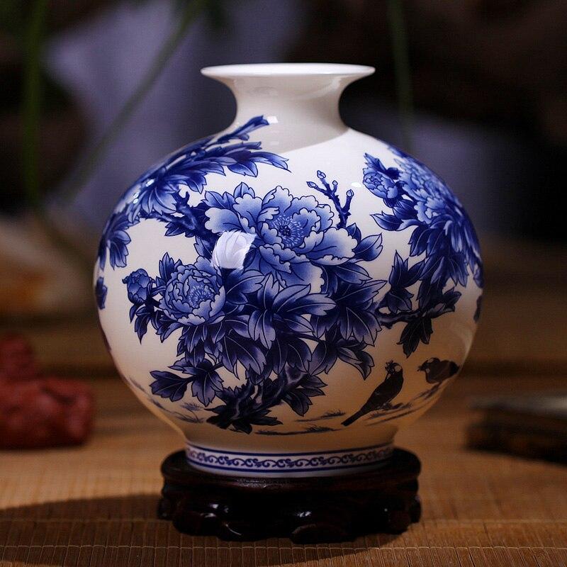 Высокое качество Цзиндэчжэнь синий и белый фарфоровые вазы тонкой костяного фарфора ваза пион украшенный Высокое качество керамическая ва...