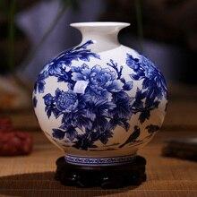 Высококачественные сине белые фарфоровые вазы Цзиндэчжэнь, декоративная высококачественная керамическая ваза с пионами