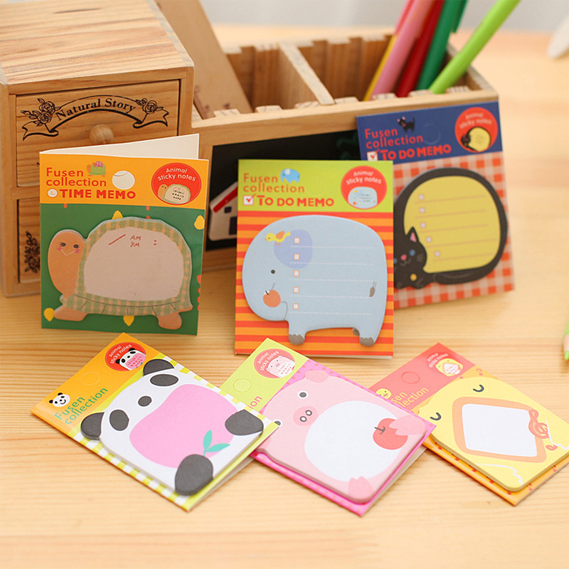 48 pcs/Lot Animal sticky note Time schedule memo card Adhesive post sticker Frog rabbit Office material school supplies F547schedule memoanimal sticky notessticky notes -