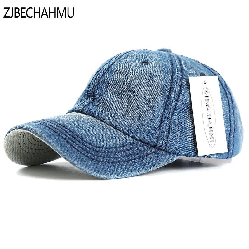 ZJBECHAHMU Hats Summer Casual Solid Denim Brand Men Women Adjustable Baseball caps Vintage Snapback Hats Apparel Accessories women baseball polo caps snapback hats female adjustable hats