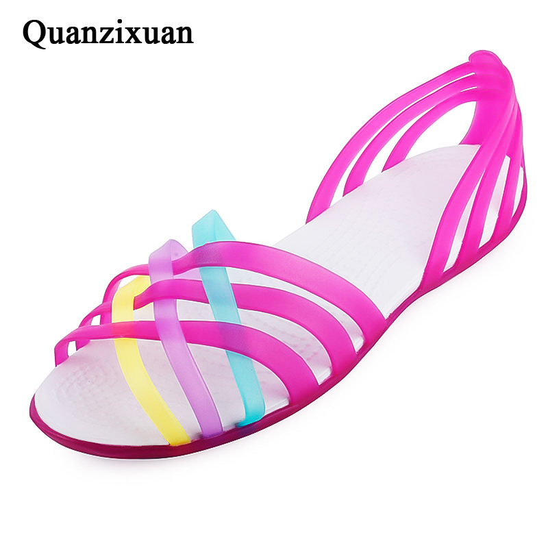 Quanzixuan Jelly Shoes Women Sandals Summer Women Shoes Rainbow Colors Flat Shoes Woman Beach Sandals Fashion Ladies Sandals summer 2017 new color crystal bling sandals woman anti skid hole jelly shoes flat garden beach rain shoes