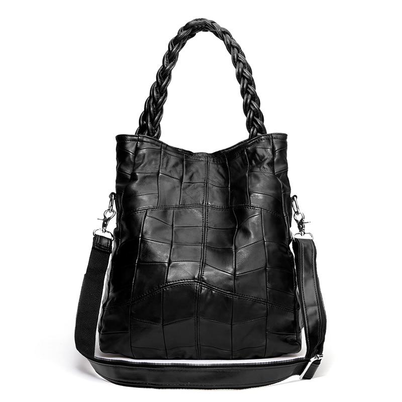 Brand New 2019 Women Bag Black Handbag Sheepskin Genuine Leather Soft Tote Large Capacity Female 3