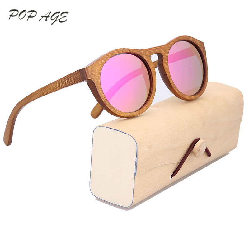 GREENBUY Pink Sunglasses Women Bamboo Reflective Mirrored Sunglass Woman Fashion Brand Solbriller Girls Vintage Glasses 2016