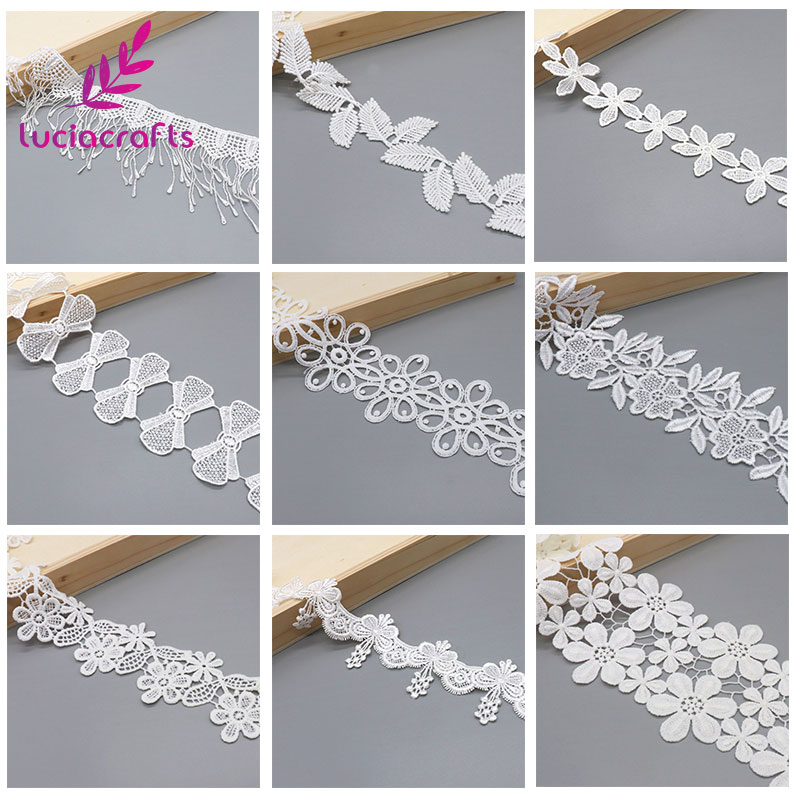 Lucia Crafts 1yard/lot Handmade Lace Trim Patchwork Material White Lace Ribbon DIY Garment Sewing Accessories N0306