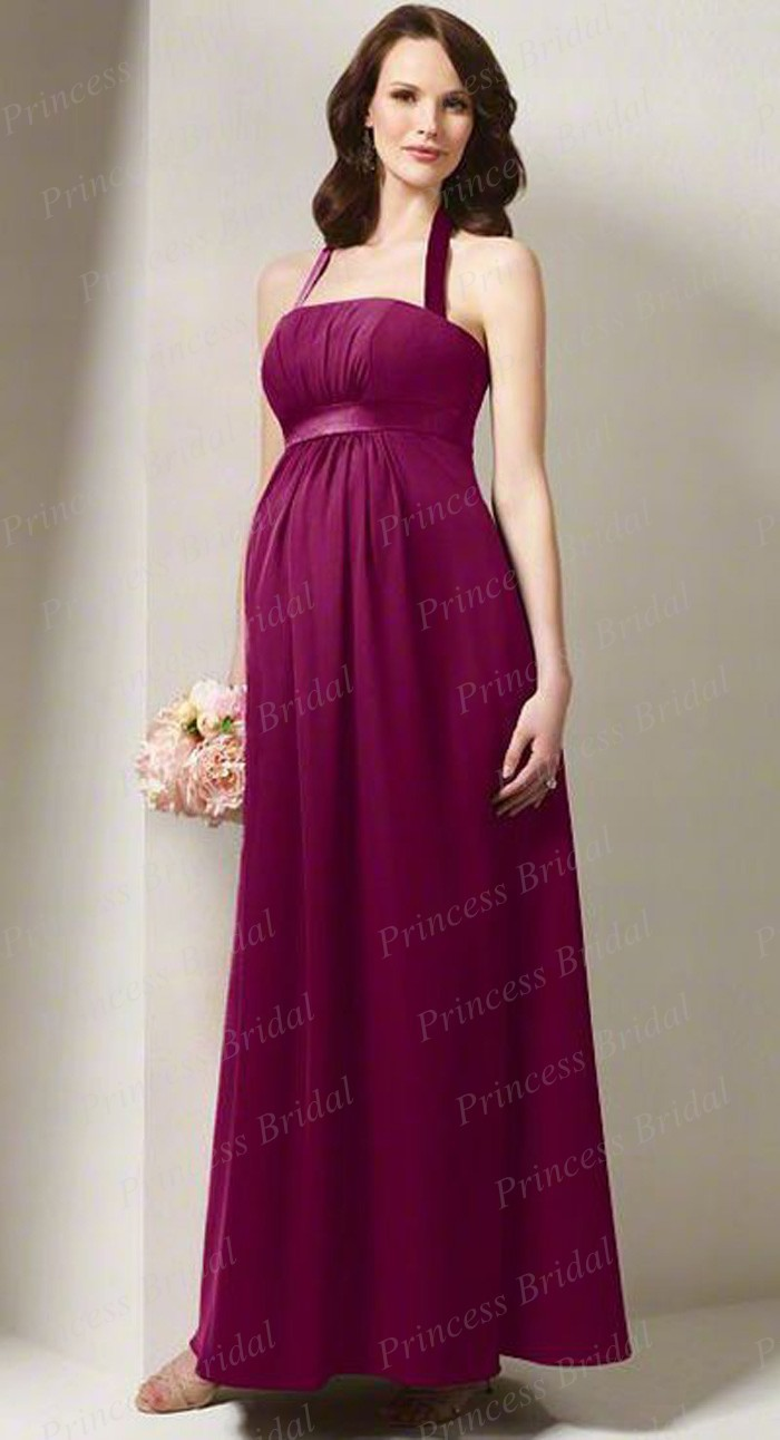 Free shipping sheath halter neck floor length chiffon party free shipping sheath halter neck floor length chiffon party bridesmaid dresses pregnant women ab108 ombrellifo Image collections